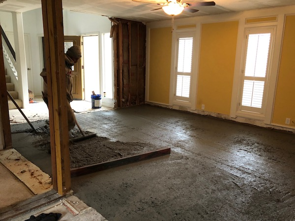 Laying Cement In Living Room