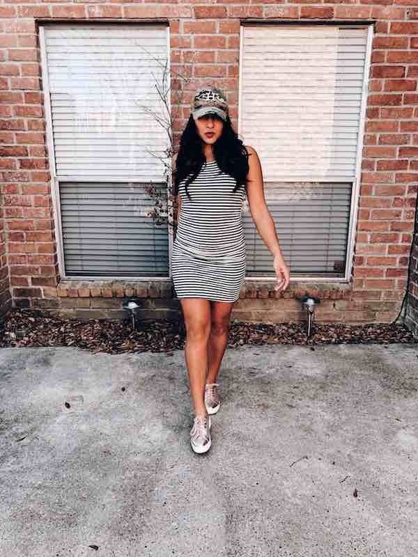 Baseball Cap With Bodycon Dress Spring Look
