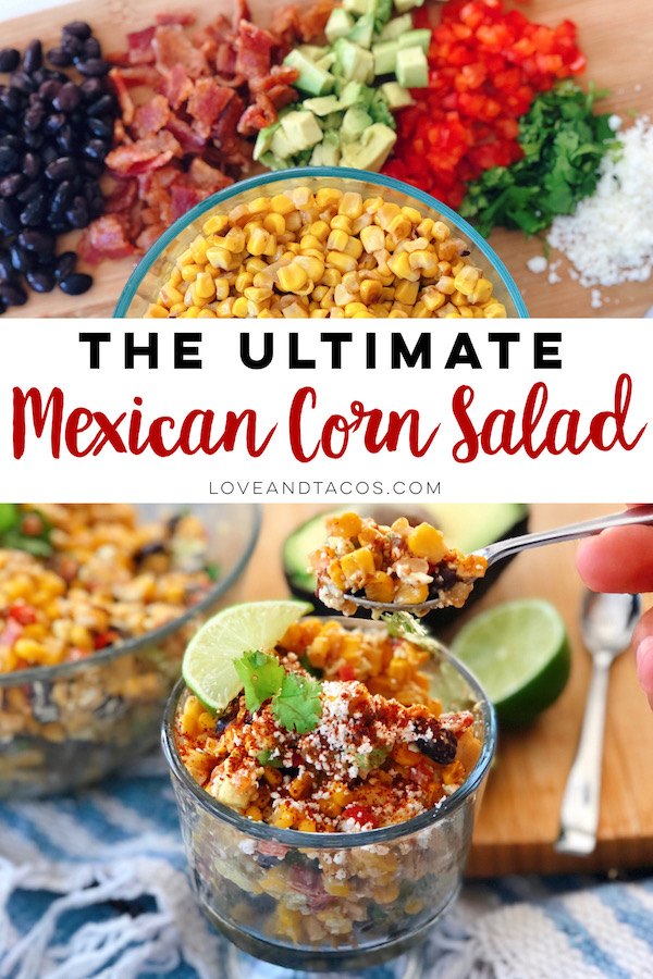 Mexican Corn Salad that is part street corn and the other part extra, with a diversity of mix-ins that make this dish so flavorful and fresh.