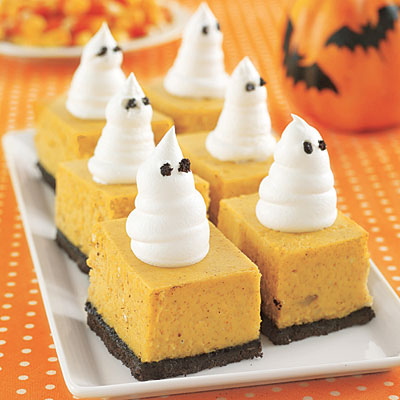 Halloween Pumpkin Cheesecake Bars with Ghosts Recipe