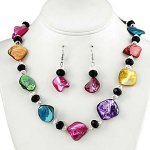 Multi Colored Faux Shell and Crystal Necklace and Earrings Set only $15.98 shipped!