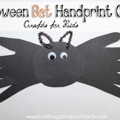 Halloween Bat Handprint Craft for Kids