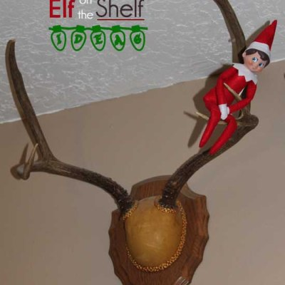 Elf on the Shelf Ideas – Hanging out on the Deer Antlers