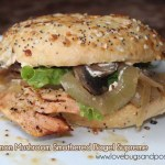 Grilled Salmon Mushroom smothered Bagel Supreme