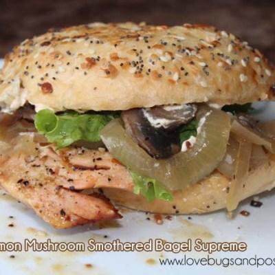 Grilled Salmon Mushroom Smothered Bagel Supreme
