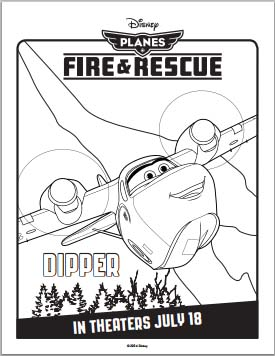 Fire: Planes and Rescue Coloring Pages - Dipper