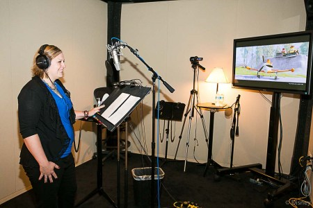 Coralie in the Recording Booth Session at Disney Toon Studios - Voice of Dipper from Planes: Fire and Resuce
