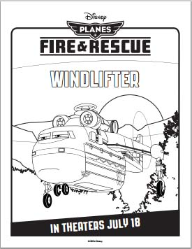 Fire: Planes and Rescue Coloring Pages - Windlifter