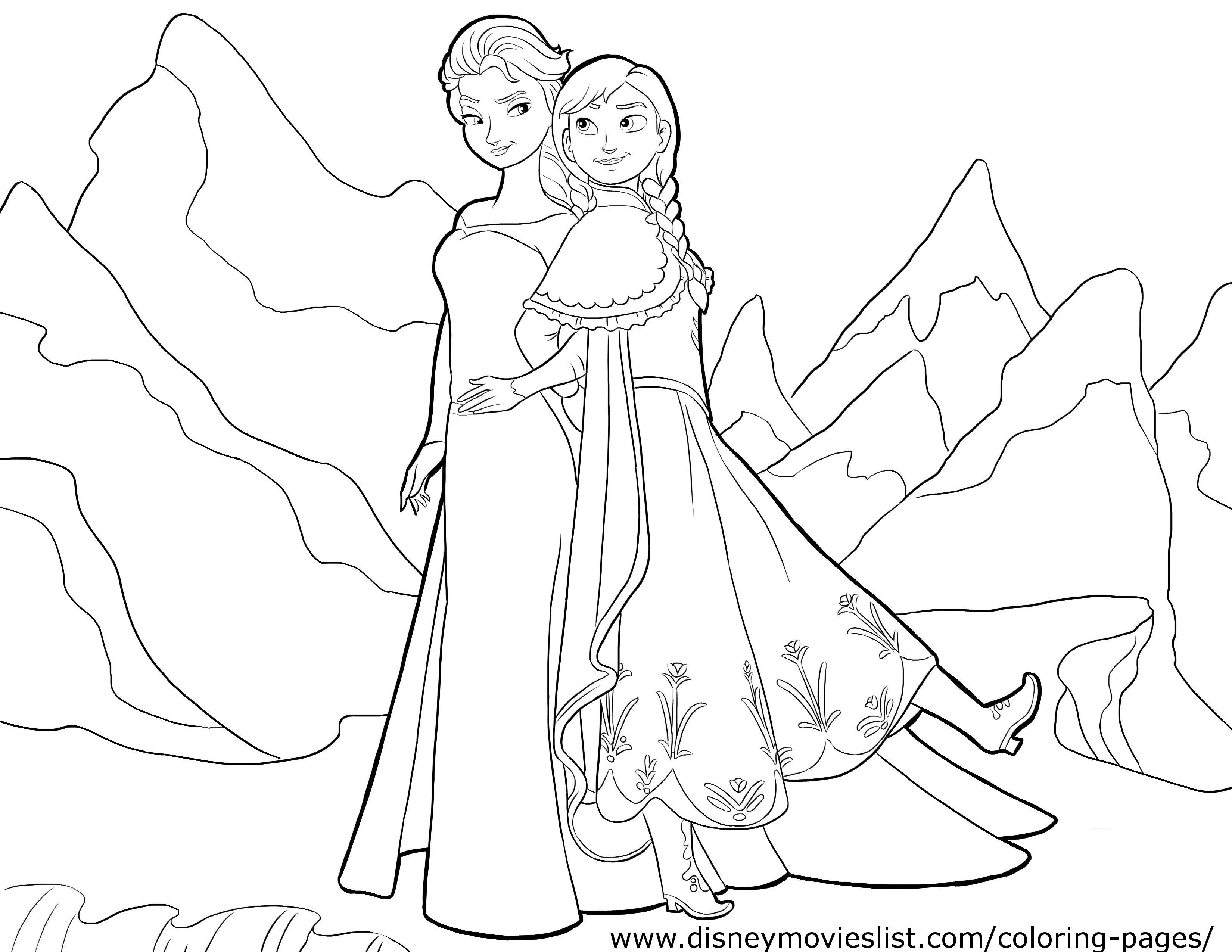 Frozen Elsa Amp Anna Coloring Page