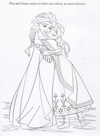 FROZEN Elsa & Anna Coloring Page