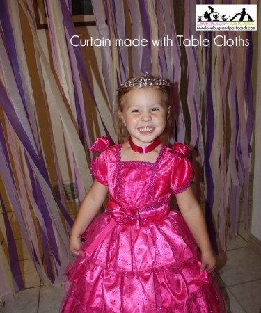 DIY Curtain made from Table Cloths (perfect for party and holiday decor)