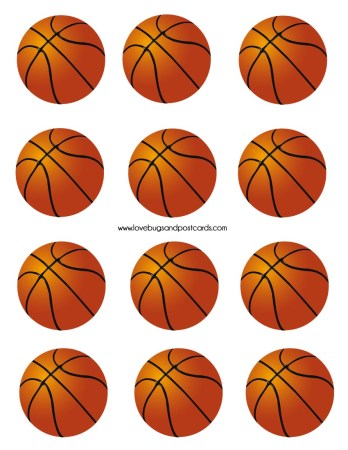 Basketball Printable PDF File (great for Cupcake Toppers and Decoration)