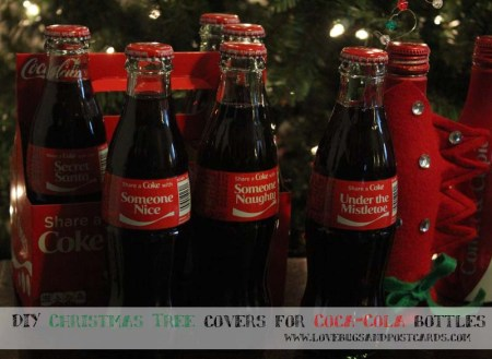DIY Christmas Tree covers for Coca-Cola bottles