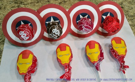 Captain America: Civil War Sucker Decorations on www.lovebugsandpostcards.com