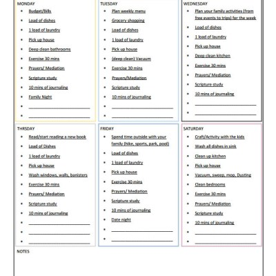 Printable Household Weekly Cleaning Checklist