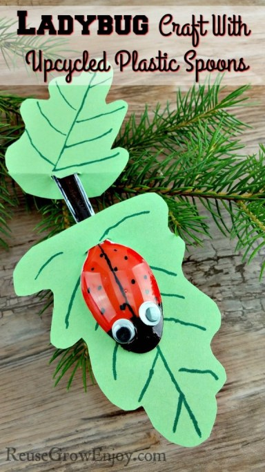Ladybug Craft With Upcycled Plastic Spoons