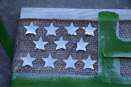 DIY Painted Burlap Flag Board