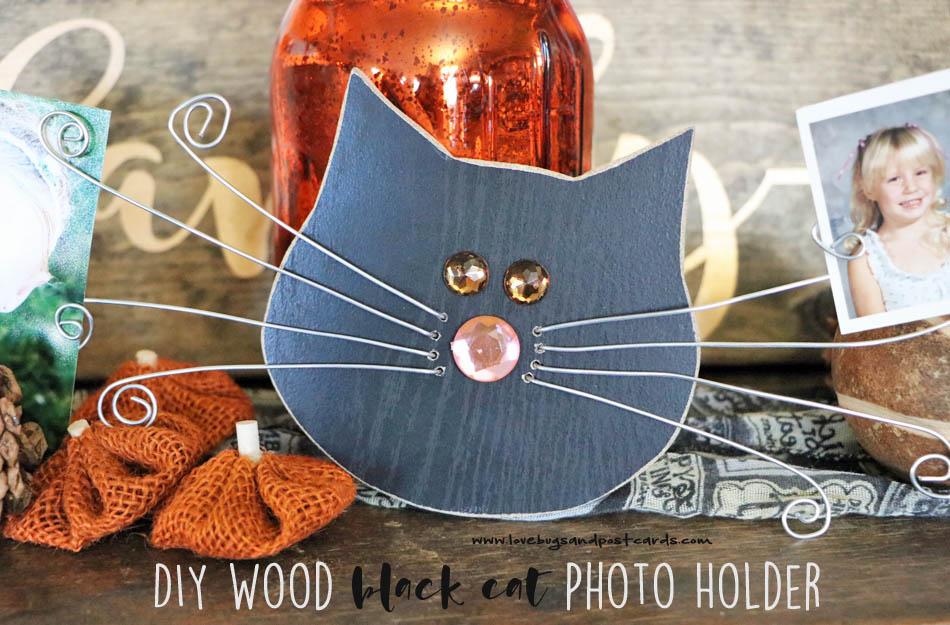 DIY Wood Black Cat Photo Holder
