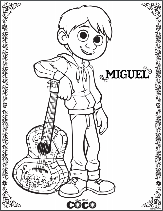 pixar coloring pages Disney Pixar's COCO Coloring Pages #PixarCoco   Lovebugs and Postcards pixar coloring pages