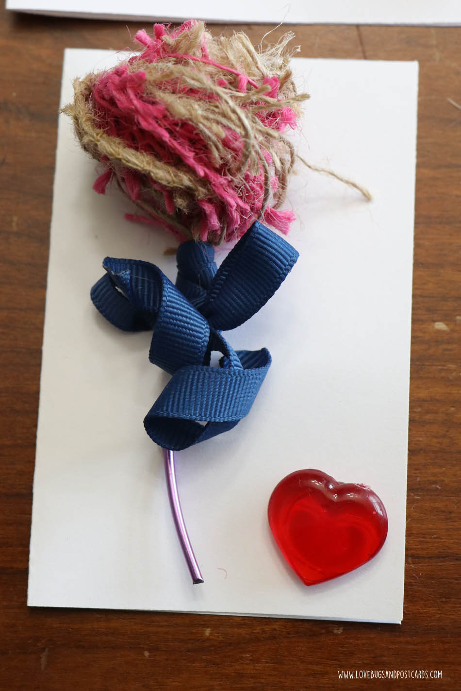 DIY Burlap Rose Valentine's Card