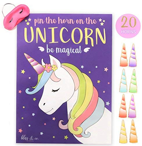 Unicorn Birthday Party Ideas - Pin the Horn on the Unicorn Game