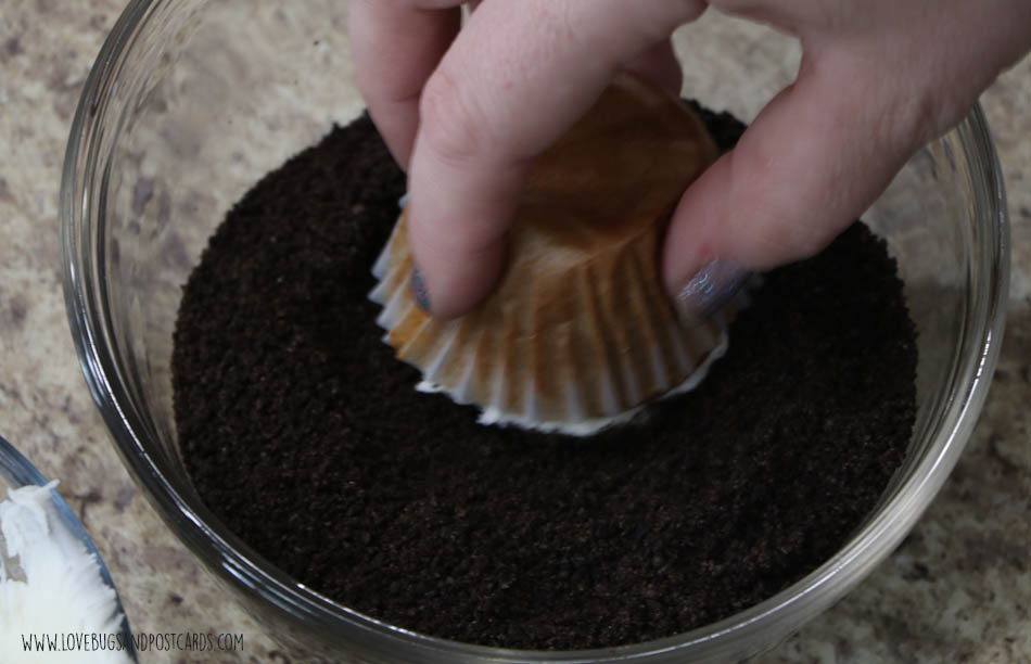 After you frost your cupcake, dip the top in cookie crumbs