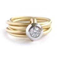 Modern gold and platinum 6 band enagement wedding ring ...