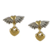 Classic winged hearts with heart drop earrings ...