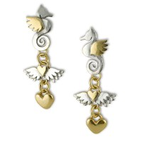 Triple drop seahorse earrings