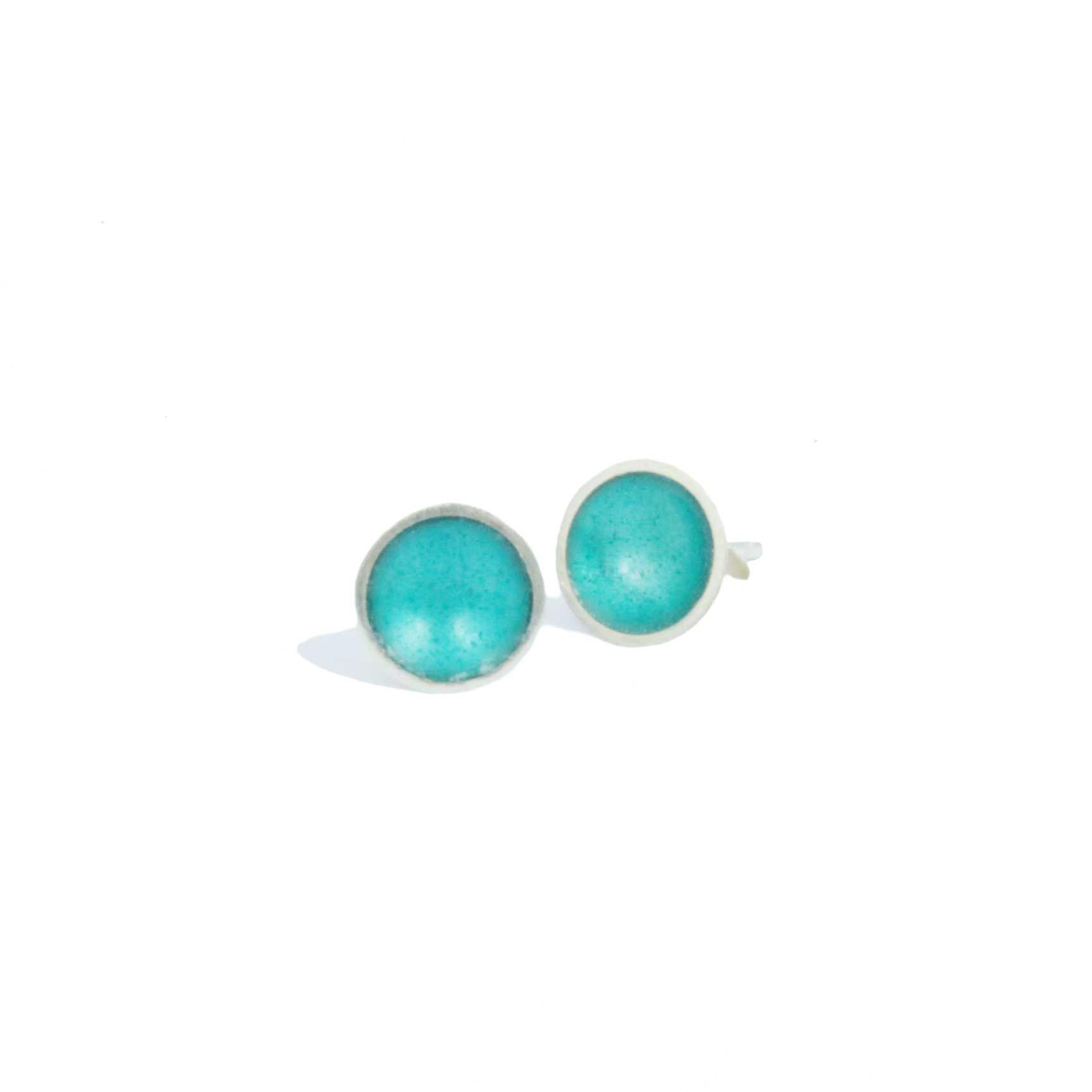 Silver and Enamel Stud Earrings Teal