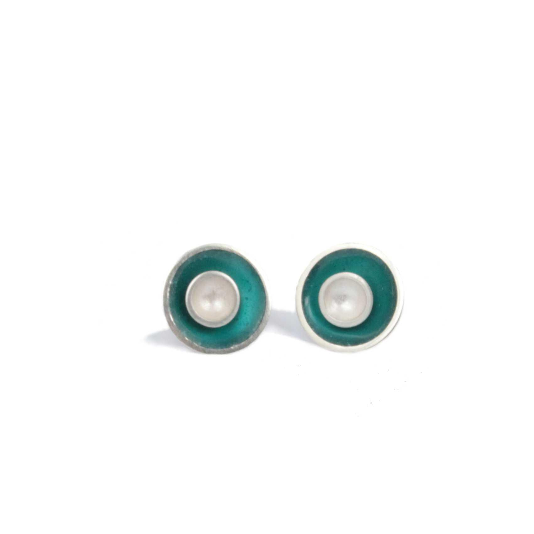 Small Target Silver Stud Earrings