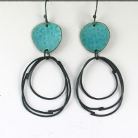 Flotsam series earrings with loops - deep turquoise ...