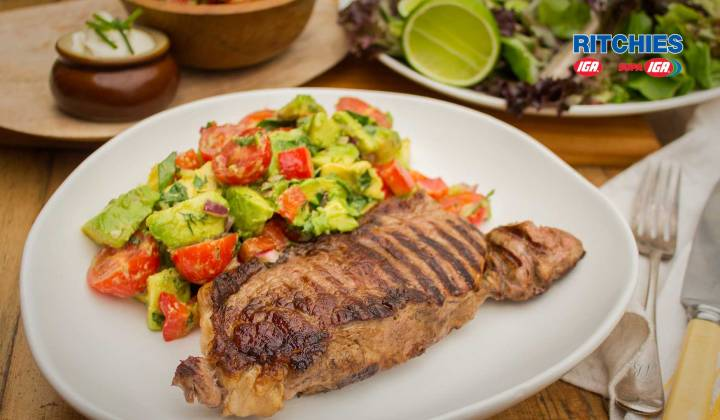 Porterhouse steak with avocado salsa