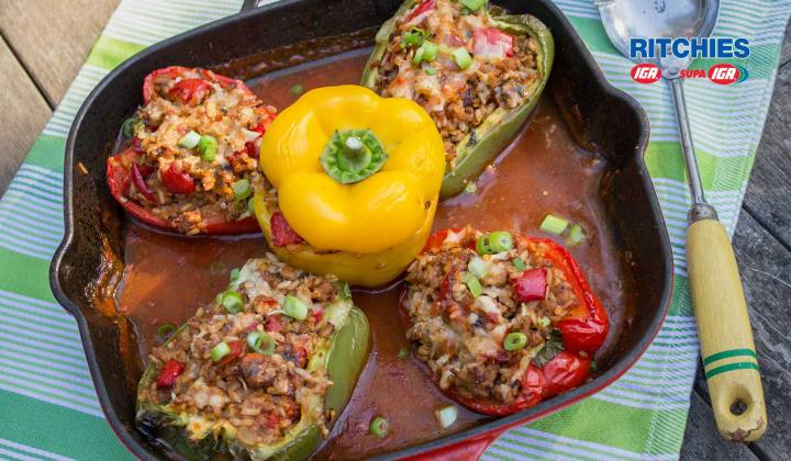 Spicy pork stuffed capsicums