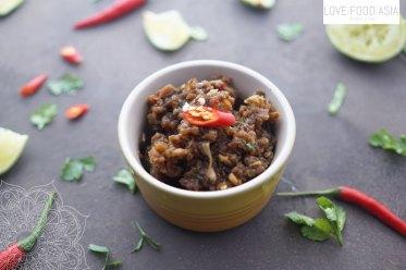 Laotian smoked eggplant dip