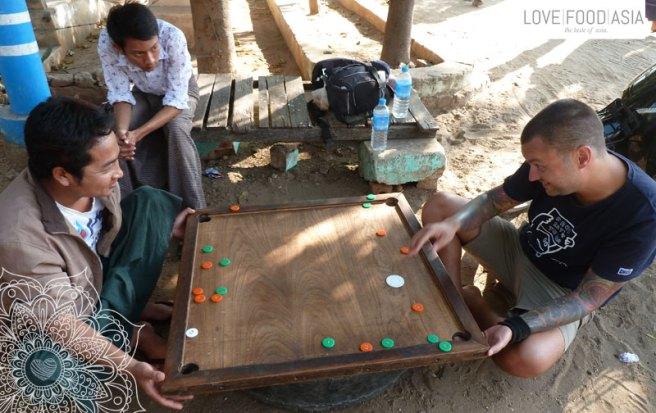 Playing a game in Bagan