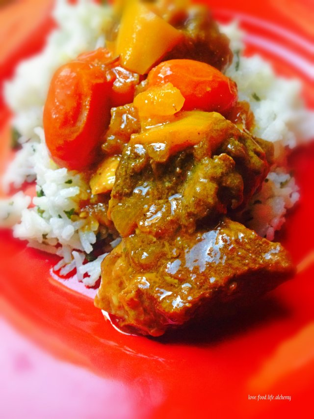 coconut milk and beef curry