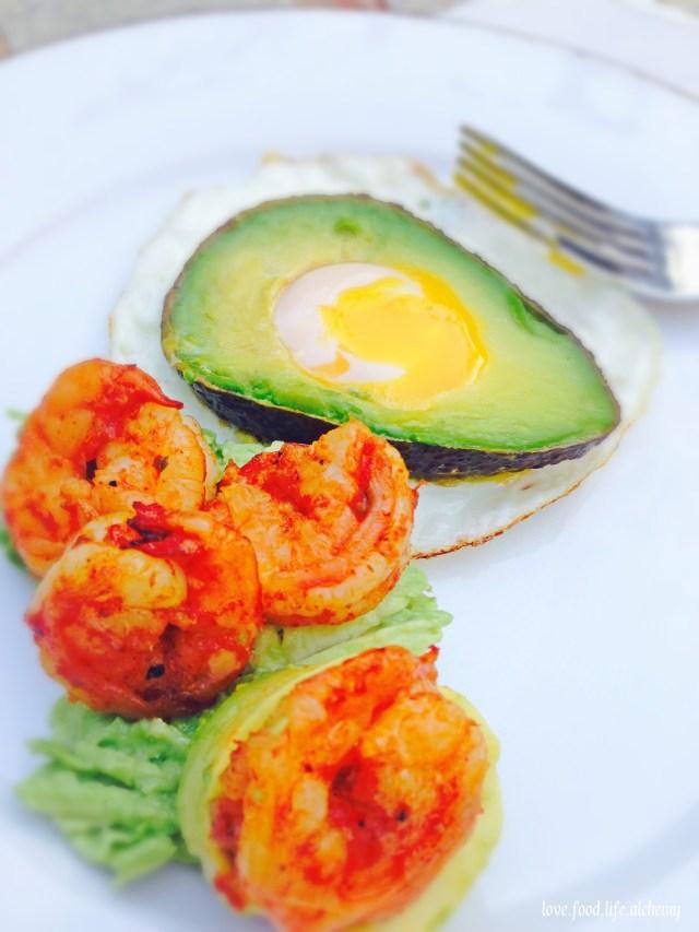 fried egg avocado and shrimp