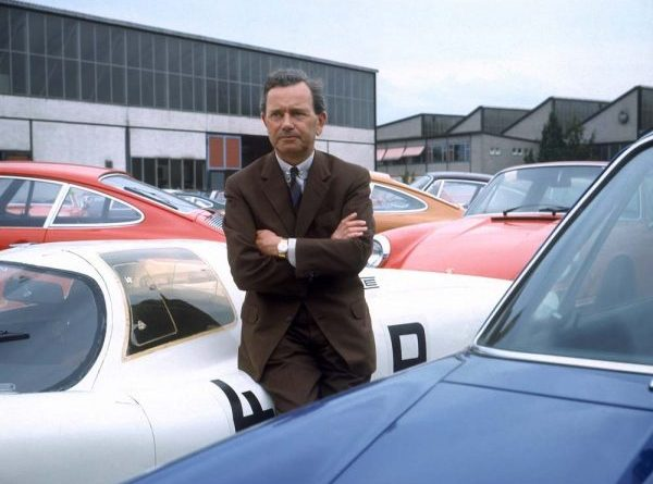 Ferry Porsche at the Porsche plant in Zuffenhausen 1968