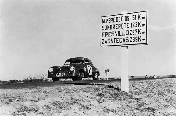 1952, Porsche 356 1500 S Cabrio, Fürst Metternich and Baron Treffe, Carrera Panamericana