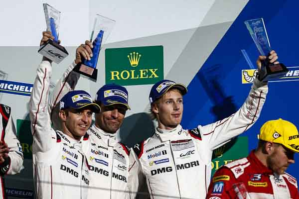 FIA WEC 6H Fuji - Porsche Team: Timo Bernhard, Mark Webber, Brendon Hartley (l-r)