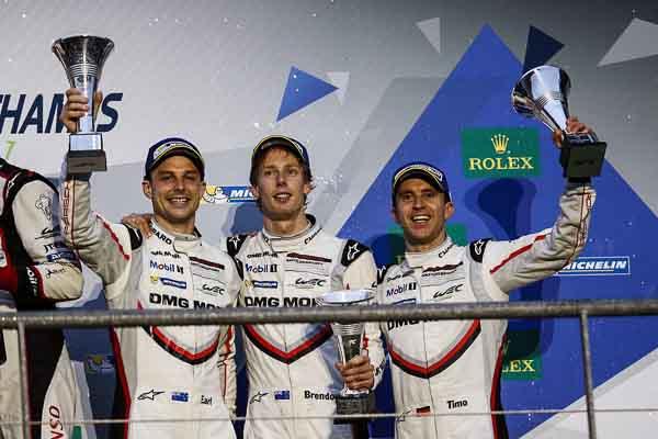 Porsche LMP Team: Earl Bamber, Brendon Hartley, Timo Bernhard (l-r)