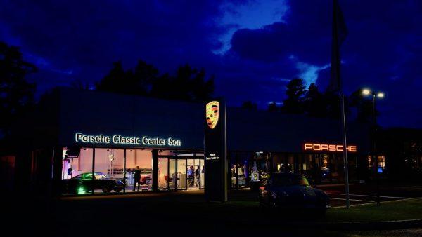 Porsche Classic Center in Norway night