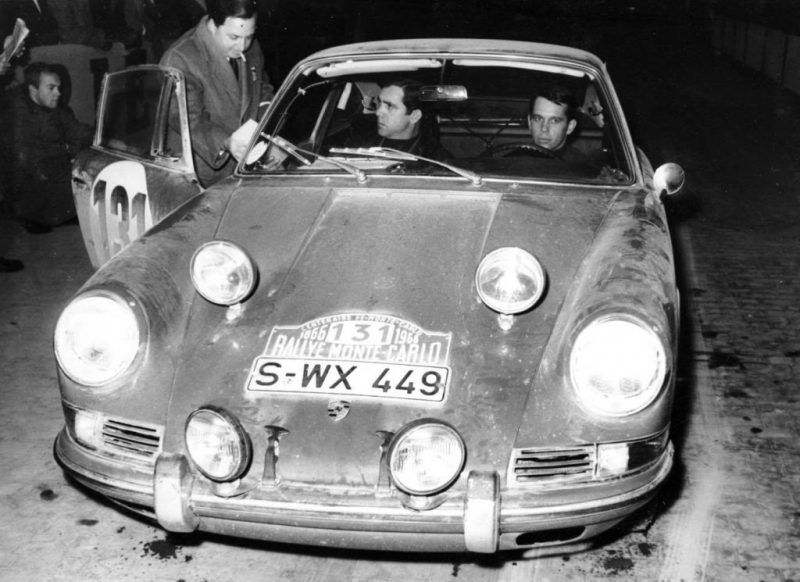 Eugen Böhringer and Rolf Wütherich finish 2nd in the 1966 Rally of Monte-Carlo