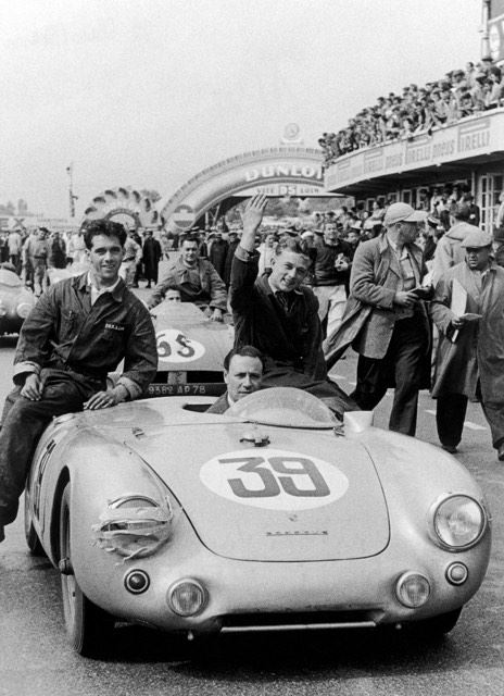 Rolf Wütherich sitting on a Porsche 550-012 Spyder at the 1954 Le Mans 24H Johnny Claes / Pierre Stasse