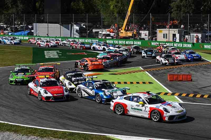 Start, Matt Campbell (AUS), Zaid Ashkanani (KWT), Dennis Olsen (N), Michael Ammermüller (D), Porsche Mobil 1 Supercup Monza 2017