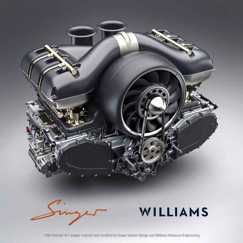 Aircooled flat-six engine by Singer Vehicle Design and Williams