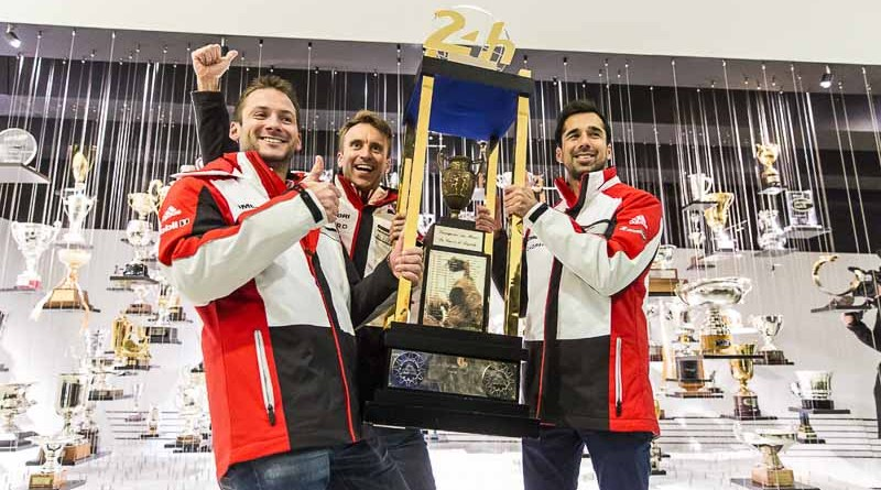 (l.-r.) Nick Tandy: Le Mans winner 2015 and Porsche factory driver, Timo Bernhard: Le Mans winner 2017 and Porsche factory driver und Neel Jani: Le Mans winner 2016 and Porsche factory driver