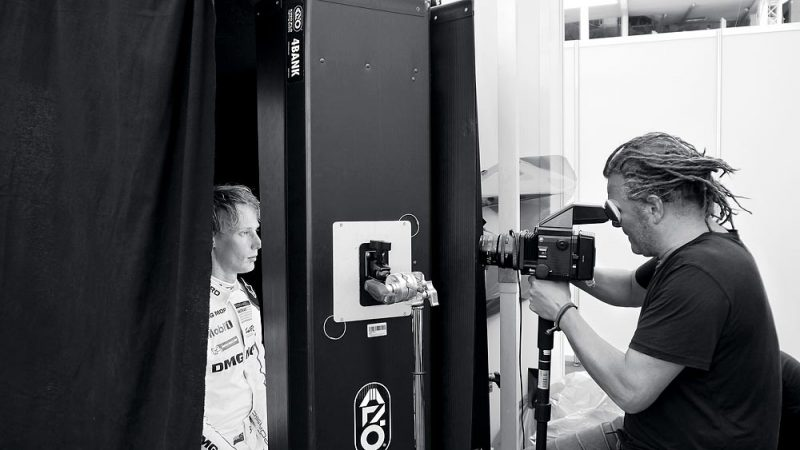 "Martin Schoeller photographs Porsche LMP1 driver Brendon Hartley throughout the ""6 Hours of Nürburgring"" race"