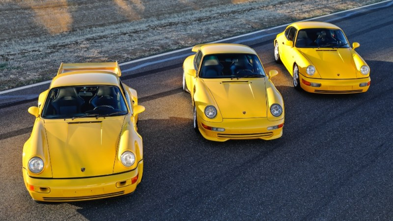 1992 and 1993 Porsche 964 Carrera RS 3.8s, and the 1995 Porsche 993 Carrera 3.8. Mike Maez/Gooding & Company Mike Maez/Gooding & Company